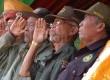 Mantan anggota pasukan Peta, pada upacara HUT Kemerdekaan RI di Gasibu, Kota Bandung, Ahad (17/8). (Republika/Edi Yusuf)