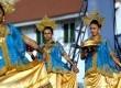 Tarian Maduppa dari Sulawesi Selatan dalam acara Festival Seni dan Budaya Nusantara yang digelar di Kota Tua, Jakarta Utara, Sabtu (23/8). (Republika/Raisan Al Farisi)