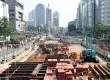 Proyek pembangunan Mass Rapit Transit (MRT) memasuki proses tahap penggalian terminal bawah tanah di Jl. MH Thamrin, Jakarta, Ahad (12/4).  (foto : MgROL_37)