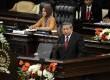 Presiden ke-6 Susilo Bambang Yudhoyono (SBY) menjadi pembicara (keynote speaker) dalam perhelatan Parlemen Konfrensi Asia Afrika (KAA) di Gedung Parlemen, Senayan, Jakarta, Kamis, (23/4). (Republika/Agung Supriyanto)