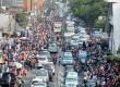 Arus lalu lintas yang padat di kawasan Tanah Abang, Jakarta, Ahad (5/7).  (Republika/Yasin Habiibi)