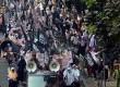 Aksi unjuk rasa massa Hizbut Tahrir Indonesia (HTI) menolak kontes kecantikan Miss World di Jakarta, Kamis (5/9).   (Republika/Agung Supriyanto)