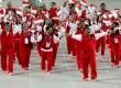 Atlet Indonesia gelombang kepada orang banyak selama Upacara Pembukaan Asian Games ke-17 di Incheon Jumat (19/9). (Reuters/Issei Kato)