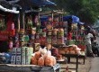 Deretan kios pasar kue tumpah di Jalan Raya Bogor, Jakarta Timur, Selasa (6/8).   (Republika/Rakhmawaty La'lang)