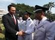 Gubernur DKI Jakarta Basuki Tjahaja Purnama atau Ahok memberikan selamat kepada pejabat yang usai dilantik untuk menjabat Administrasi di halaman kantor Balaikota Jakarta, Senin (18/5).