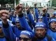 Hari Buruh Sedunia (May Day) di depan Istana Merdeka, Jakarta, Selasa (1/5). (Republika/Aditya Pradana Putra)