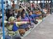 Jarak sasaran dengan tempat memanah 31 meter. Lomba Jemparingan Gaya Mataram Keraton Ngayogyakarta Hadiningrat di Lapangan Mandungan, Keraton Yogyakarta, Selasa Wage (10/4). (Heri Purwata)
