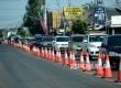 Kendaraan padat merayap dari arah pintu keluar Brebes Timur menuju Tegal, Tegal, Jawa Tengah, Kamis (7/7). (Republika/Wihdan Hidayat)