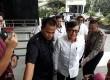 Menteri Hukum dan HAM Yasona Laoly tiba di Gedung KPK.