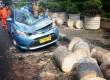 Mobil taksi dengan nopol B 1606 TTC ringsek tertimpa pohon di Jalan Fachrudin, Tanah Abang, Jakarta Pusat, Selasa (30/8).  (Republika/Agung Supriyanto)