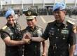 Panglima TNI Jenderal Moeldoko (tengah) bersama Danpaspampres Mayjen Andika Perkasa (kanan) sertaDanjen Kopassus Mayjen Doni Monardo.