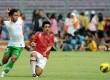 Para pemain tim nasional Indonesia melalukan latihan simulasi pertandingan di Stadion Gelora Bung Karno, Jakarta, Sabtu (10/11).   (Prayogi)