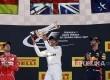 Pebalap Mercedes Lewis Hamilton merayakan kemenangannya pada Grandprix Spanyol.