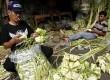 Pedagang memanfaatkan trotoar untuk membuat dan berjualan ketupat di Kawasan Palmerah, Jakarta Selatan, Kamis (25/10).  (Adhi Wicaksono)
