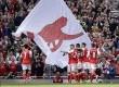 Pemain Arsenal merayakan gol ke gawang Manchester United di Stadion Emirates.