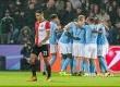 Pemain Manchester City merayakan gol pada  pertandingan UEFA Champion League melawan Feyenoord di Rotterdam