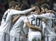 Pemain Real Madrid melakukan selebrasi usai menjebol gawang tim lawan.