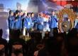 Sekjen Partai Demokrat Edhie Baskoro Yudhoyono (paling kanan) didampingi jajaran pengurus dan majelis tinggi partai membuka KLB Partai Demokrat di Denpasar, Sabtu (30/3).(Republika/Aditya Pradana Putra)