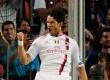 Selebrasi penyerang AC Milan, Alexandre Pato, saat mencetak gol cepat pada detik ke 24 babak pertama ke gawang Bercelona, Rabu (14/9) dinihari WIB. (AP)