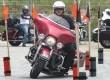 Seorang pengendara Harley Davidson belajar safety riding di Surabaya, Ahad (13/3).