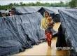 Seorang wanita Roohingya di antara tenda yang terendam banjir di Kamp pengungsi Rohingya, Cox's Bazaar, Bangladesh