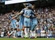 Tim Manchester City merayakan gol kedua Sterling saat menjamu West Ham United dengan skor akhir 3-1