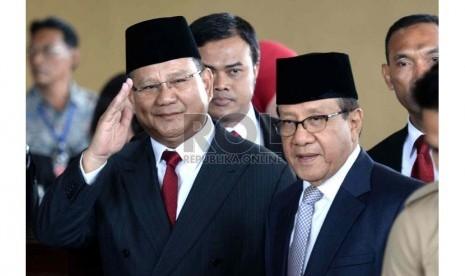 Ketua Umum Gerindra Prabowo Subianto menghadiri acara pelantikan Presiden di Gedung Nusantara, Komplek Parlemen Senayan, Jakarta, Senin (20/10).  (Republika/Wihdan)