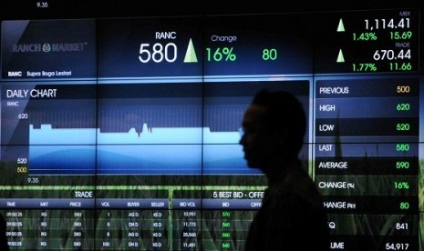 A monitor in Jakarta Stock Exchange shows the stock prices in one day trading, recetly. (illustration)