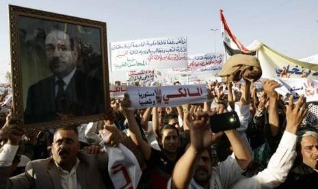 Aksi demonstrasi mendukung Nuri Al Maliki (ilustrasi)