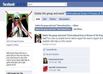 Akun dalam jejaring sosial facebook yang memuat kartun nabi muhammad