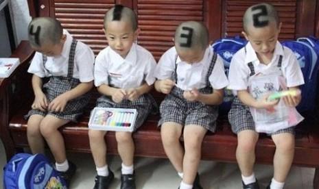 Sulit Dibedakan, Kepala Anak Kembar Empat Dinomori