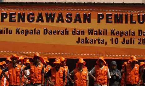 Apel siaga Pengawasan Pemilu Terpadu (Awaslupadu) di lapangan kantor Bawaslu,Jakarta, Rabu (10/7).