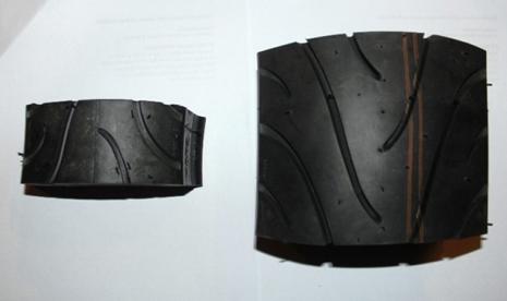 Ban bias (kiri) dan ban radial (kanan). Ban radial lebih luas permukaannya.