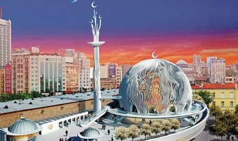 Desain masjid yang akan dibangun di Istanbul, Turki.