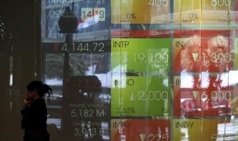 Digital screen shows stock prices at IDX Jakarta. (illustration)