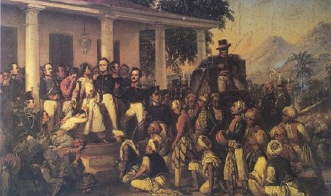 Diponegoro Arrest, a master piece painting by Raden Saleh. (illustration)