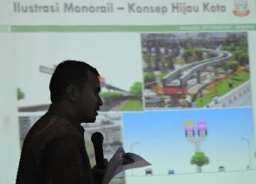 Presentasi proyek pembangunan monorel (ilustrasi).
