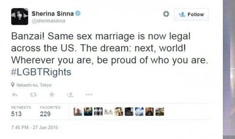 Dukungan Sherina Munaf kepada pernikahan sejenis.
