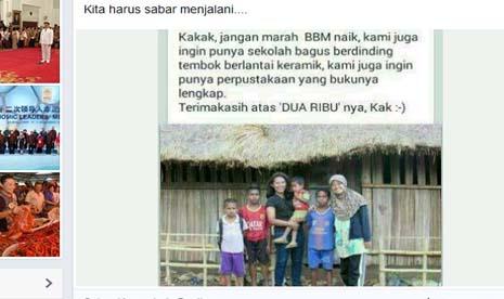 Foto berisi dukungan kenaikan bbm yang diposting Presiden Jokowi