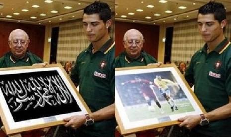 Foto Cristiano Ronaldo sedang memegang bingkai yang berisi gambar ...
