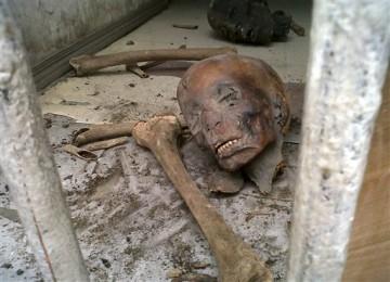Foto yang diambil hari Sabtu ini menunjukkan kepala mumi tergeletak di lantai Museum Mesir di Kairo. Sejumlah orang memasuki museum dan merusak dua mumi berusia ribuan tahun dan ratusan artefak lainnya.