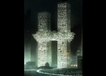 Ilustrasi komputer desain menara kembar di Seoul, Korea