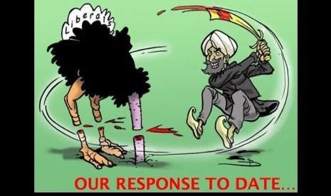 Karikatur dengan stereotip buruk Muslim dalam presentasi Shireen Burki yang disampaikan saat kuliah di Kampus Militer, berjudul Jihad: Definisi dan Operasinya.
