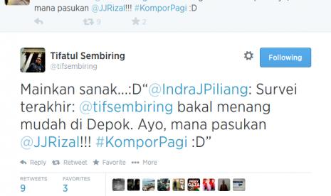 Kicauan Indra J Piliang terkait peluang Tifatul Sembiring di Pilwakot Depok.