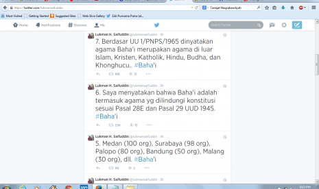 Kicauan Menag Lukman Hakim Syaifuddin terkait pengakuan pemerintah terhadap Baha'i sebagai agama baru di Indonesia.