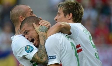 Luapan emosi Pepe usai mencetak gol pembuka bagi Portugal ke gawang Denmark.