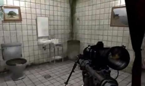 Lukisan (kiri atas) berpigura tulisan kaligrafi yang terdapat dalam video game.