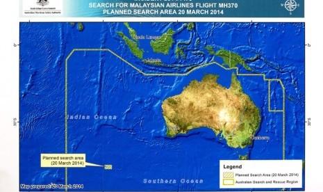 Diagram area pencarian pesawat Malaysia Airlines MH370 di Samudra Hindia bagian selatan, yang dirilis oleh Otoritas Keselamatan Maritim Australia (AMSA) di Canberra, Kamis (20/3). (Reuters/Sean Davey)