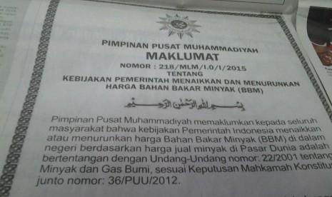 Maklumat Muhammadiyah tentang harga BBM.