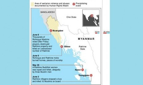 Map of Rakhine state in Myanmar locating flashpoints of violence between Rohingya Muslims and Rakhine.